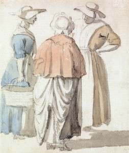 The Gossips by Scott pre-1772 British Watercolor