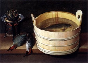 Fish in a wood bucket - Stoskopff 1635