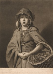 A Girl Selling Watercress on the Street - 18th century engraving by Smith